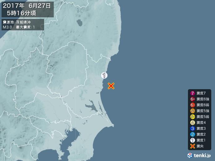 地震情報(2017年06月27日05時16分発生)