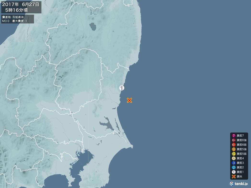 地震情報 2017年06月27日 05時16分頃発生 最大震度:1 震源地:茨城県沖(拡大画像)