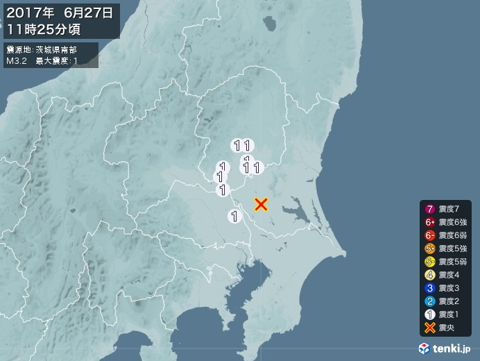 地震情報(2017年06月27日11時25分発生)