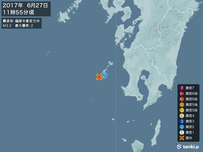 地震情報(2017年06月27日11時55分発生)
