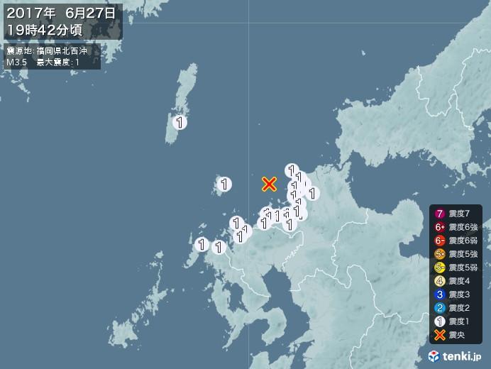地震情報(2017年06月27日19時42分発生)