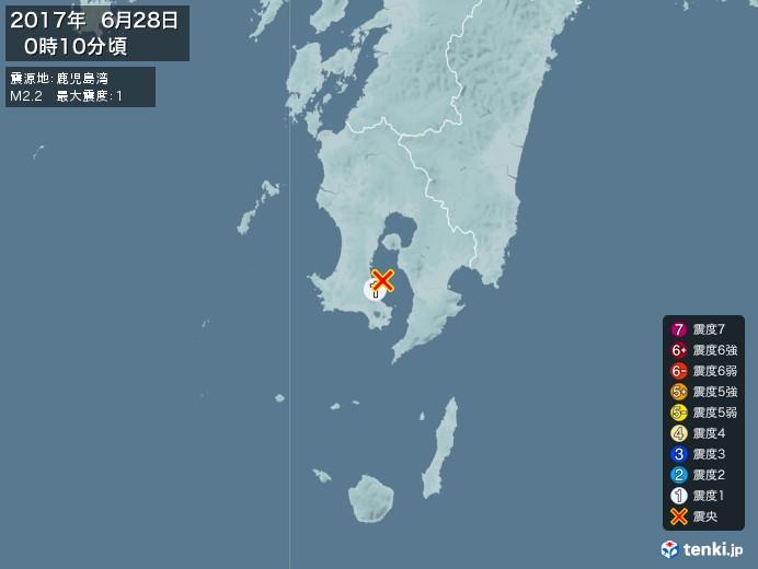 地震情報(2017年06月28日00時10分発生)