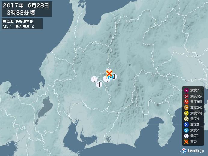 地震情報(2017年06月28日03時33分発生)