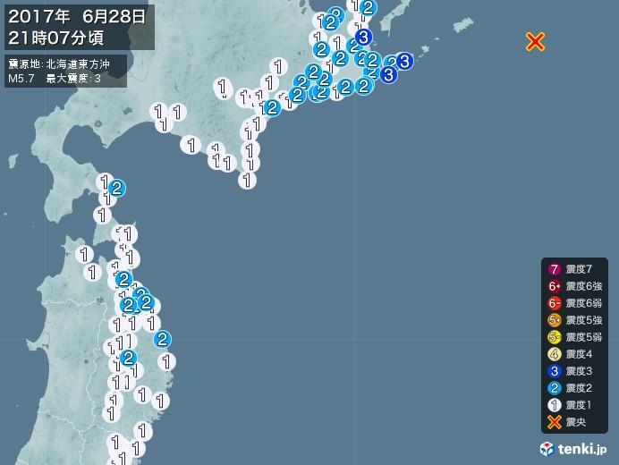 地震情報(2017年06月28日21時07分発生)