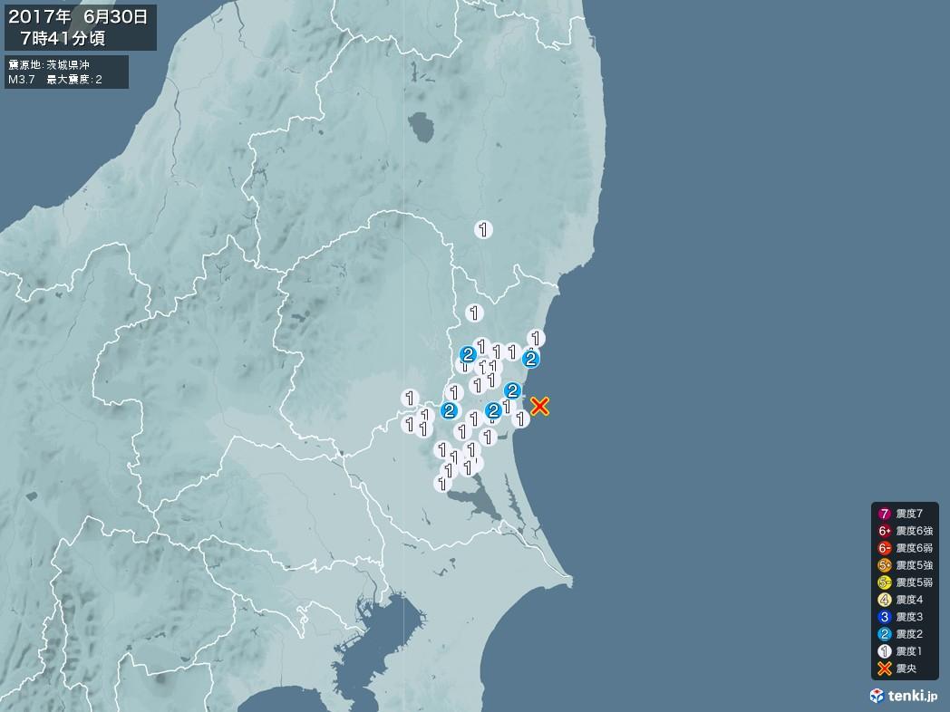 地震情報 2017年06月30日 07時41分頃発生 最大震度:2 震源地:茨城県沖(拡大画像)