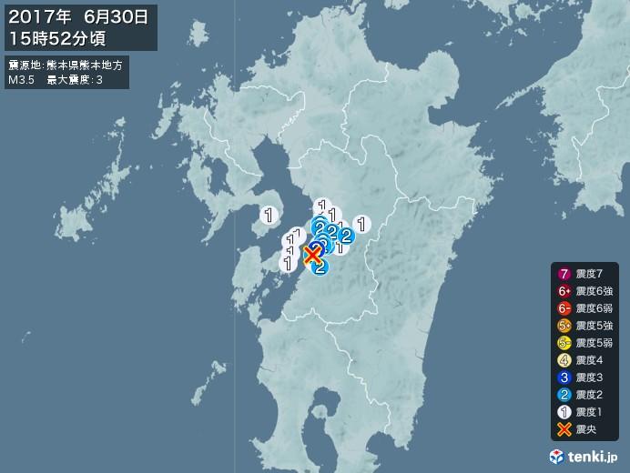 地震情報(2017年06月30日15時52分発生)