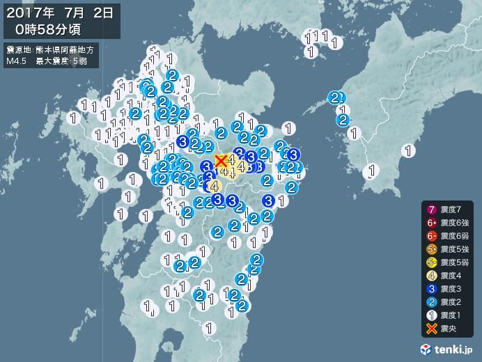 地震情報(2017年07月02日00時58分発生)
