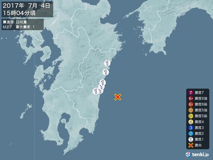 地震情報(2017年07月04日15時04分発生)