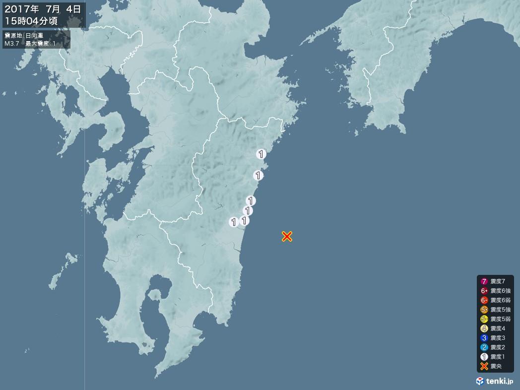 地震情報 2017年07月04日 15時04分頃発生 最大震度:1 震源地:日向灘(拡大画像)