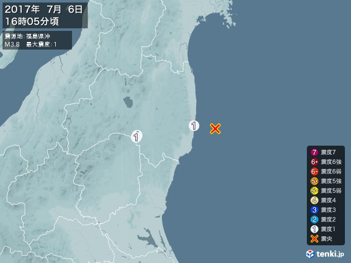 地震情報(2017年07月06日16時05分発生)