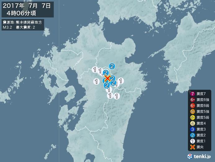 地震情報(2017年07月07日04時06分発生)