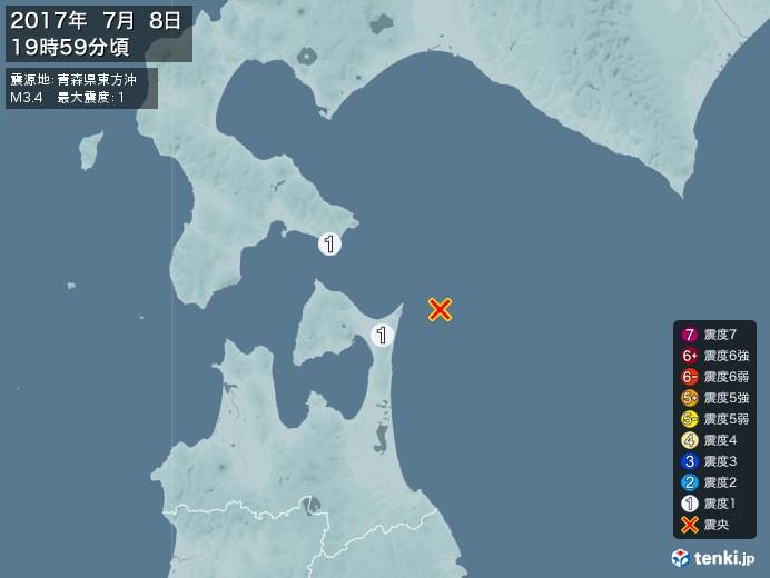地震情報(2017年07月08日19時59分発生)
