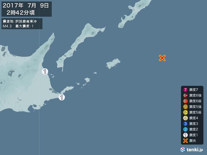 地震情報(2017年07月09日02時42分発生)