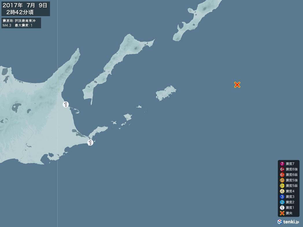 地震情報 2017年07月09日 02時42分頃発生 最大震度:1 震源地:択捉島南東沖(拡大画像)