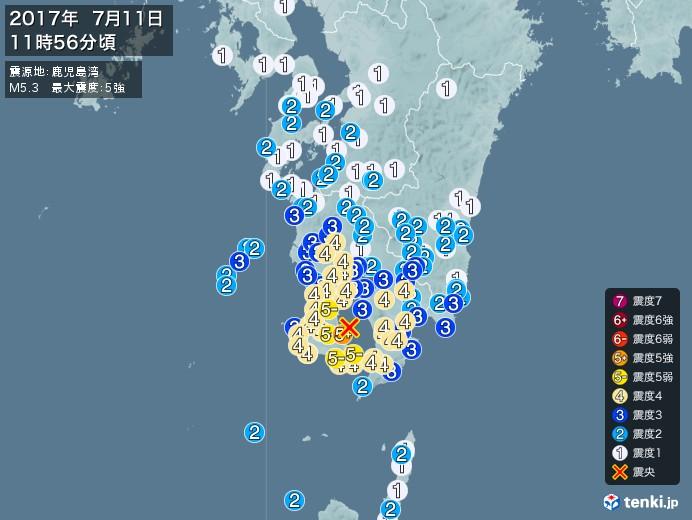 地震情報(2017年07月11日11時56分発生)