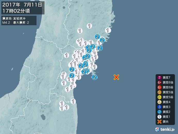地震情報(2017年07月11日17時02分発生)