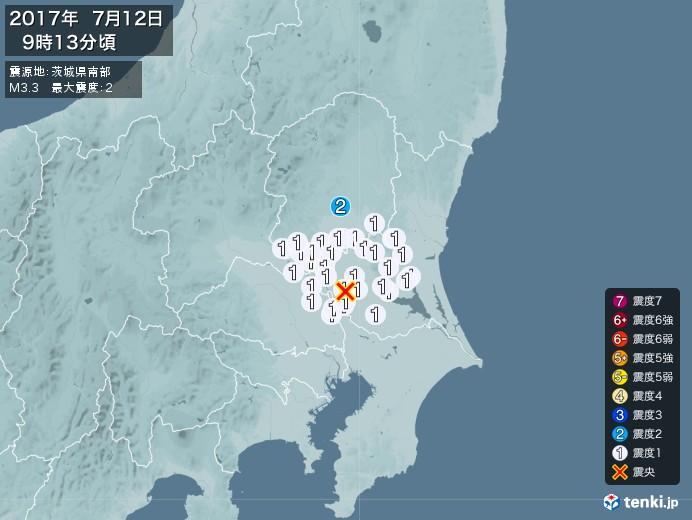 地震情報(2017年07月12日09時13分発生)
