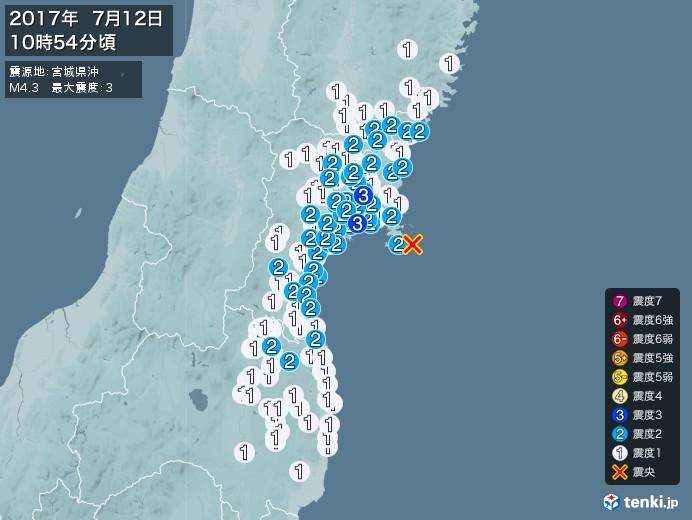 地震情報(2017年07月12日10時54分発生)
