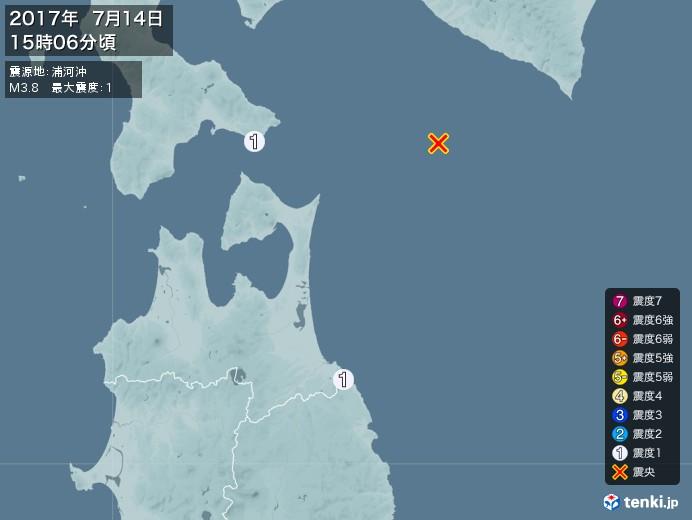 地震情報(2017年07月14日15時06分発生)