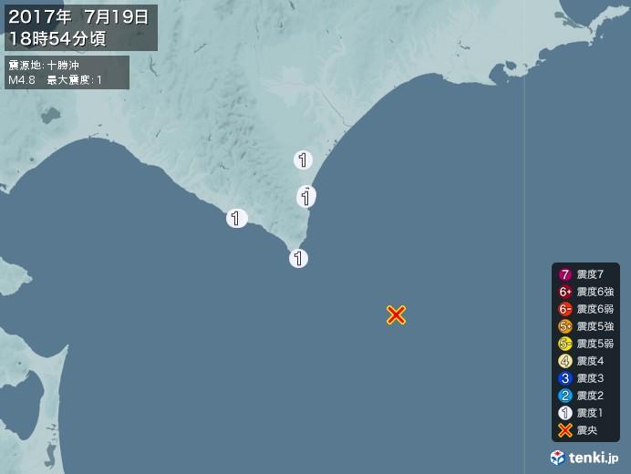 地震情報(2017年07月19日18時54分発生)