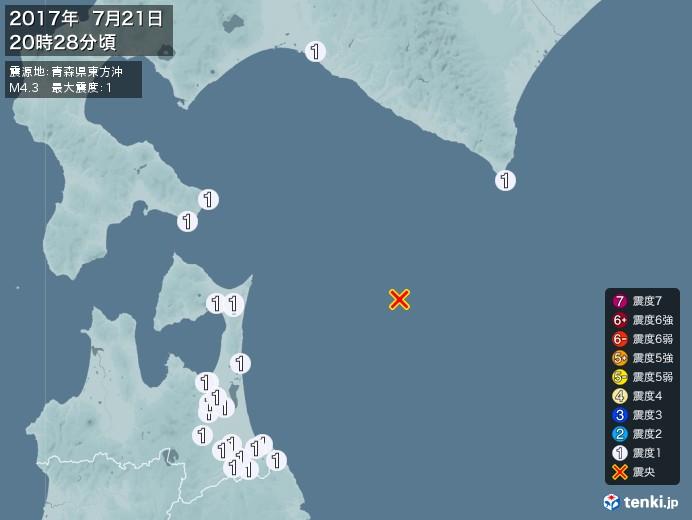 地震情報(2017年07月21日20時28分発生)