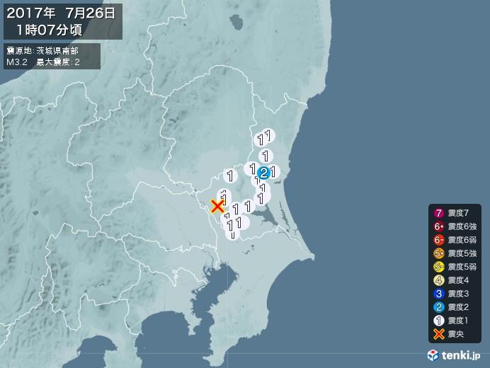 地震情報(2017年07月26日01時07分発生)