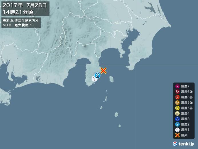 地震情報(2017年07月28日14時21分発生)