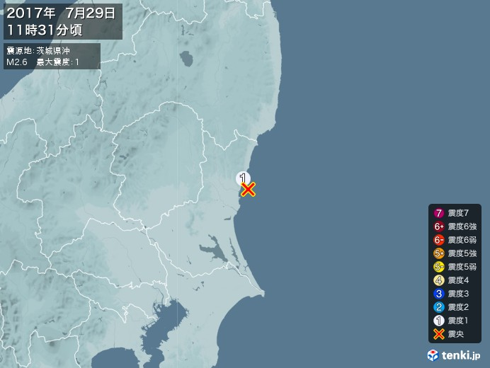 地震情報(2017年07月29日11時31分発生)