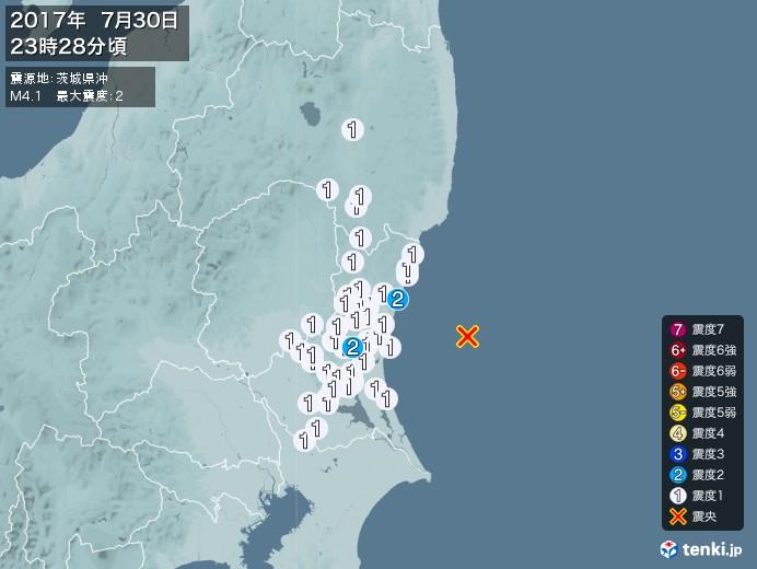 地震情報(2017年07月30日23時28分発生)
