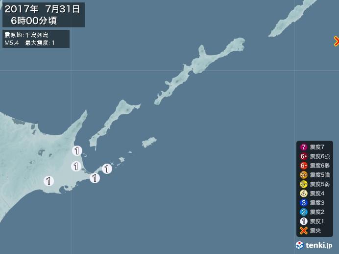 地震情報(2017年07月31日06時00分発生)
