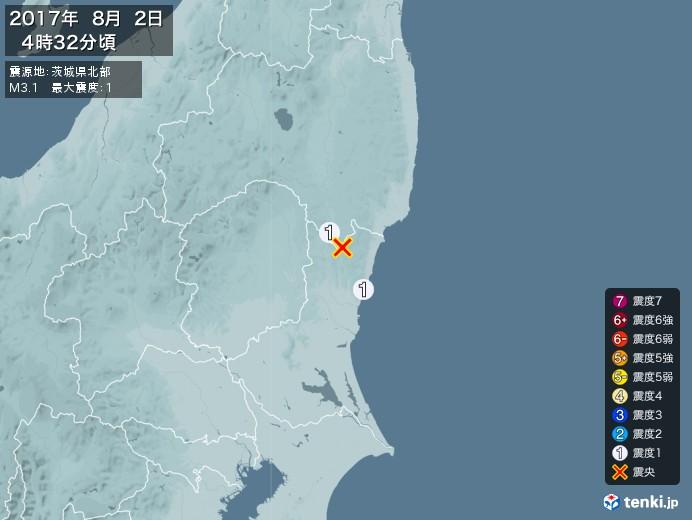 地震情報(2017年08月02日04時32分発生)