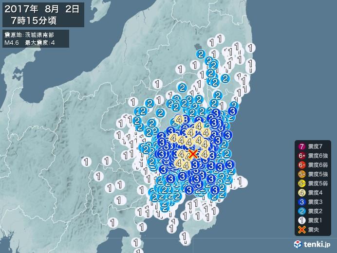 地震情報(2017年08月02日07時15分発生)