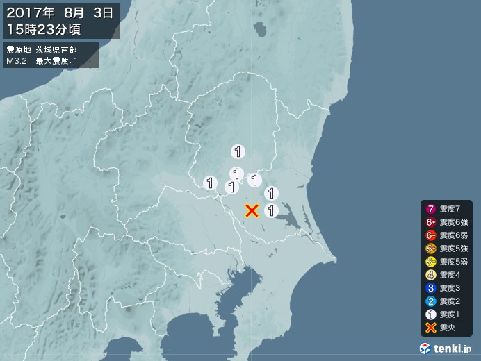 地震情報(2017年08月03日15時23分発生)