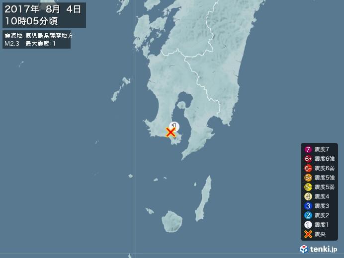 地震情報(2017年08月04日10時05分発生)