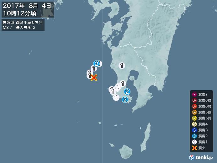 地震情報(2017年08月04日10時12分発生)