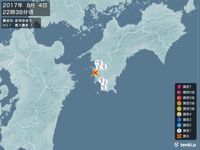 地震情報(2017年08月04日22時38分発生)