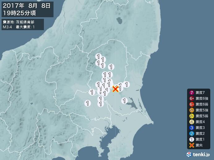 地震情報(2017年08月08日19時25分発生)