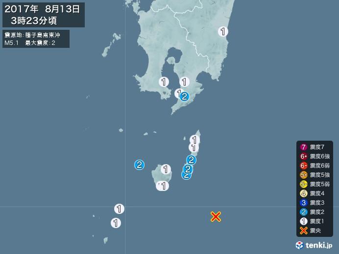 地震情報(2017年08月13日03時23分発生)