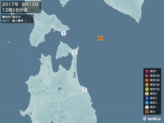 地震情報(2017年08月13日12時18分発生)