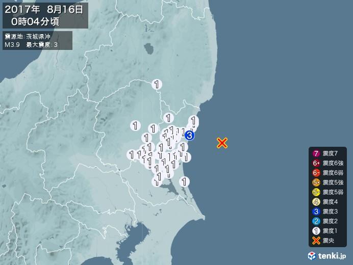 地震情報(2017年08月16日00時04分発生)