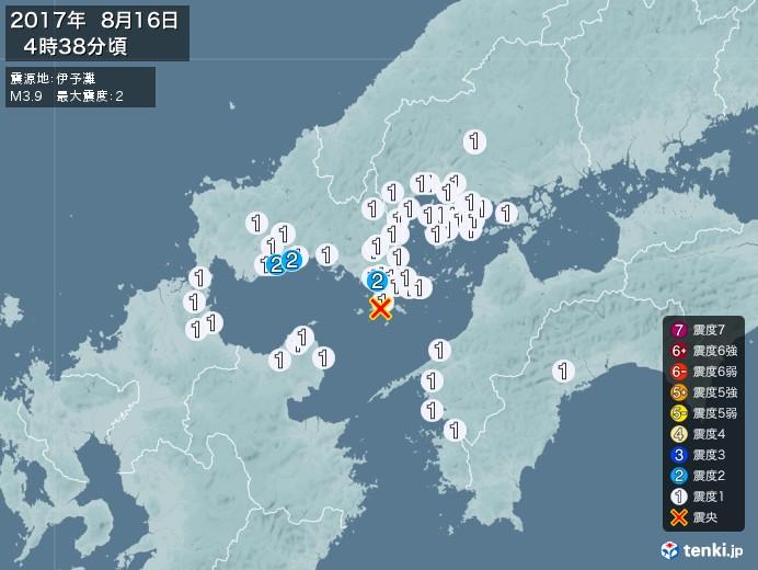 地震情報(2017年08月16日04時38分発生)