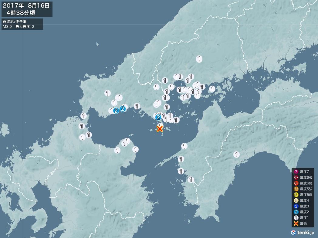 地震情報 2017年08月16日 04時38分頃発生 最大震度:2 震源地:伊予灘(拡大画像)