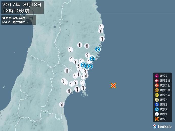 地震情報(2017年08月18日12時10分発生)