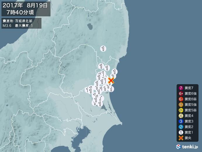 地震情報(2017年08月19日07時40分発生)