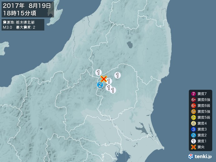 地震情報(2017年08月19日18時15分発生)