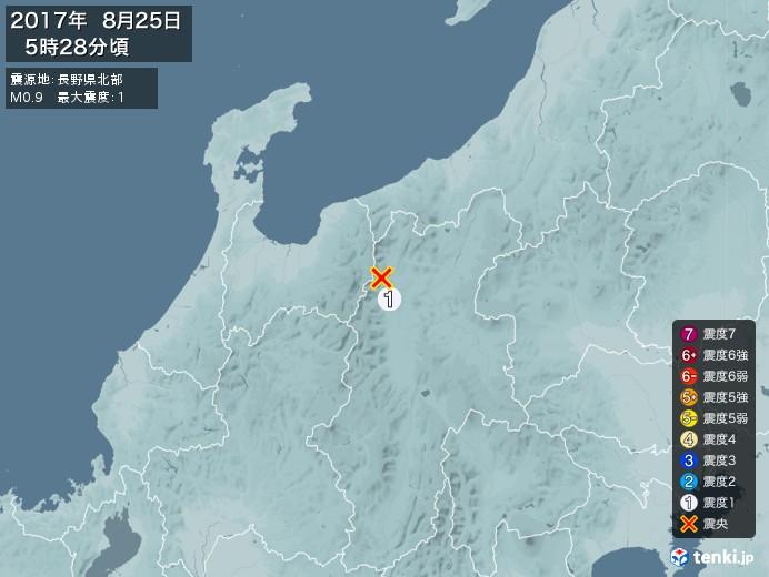 地震情報(2017年08月25日05時28分発生)