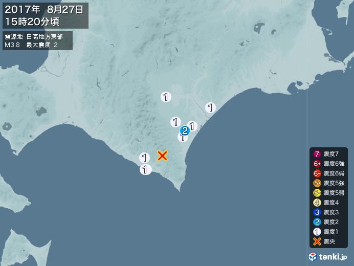 地震情報(2017年08月27日15時20分発生)