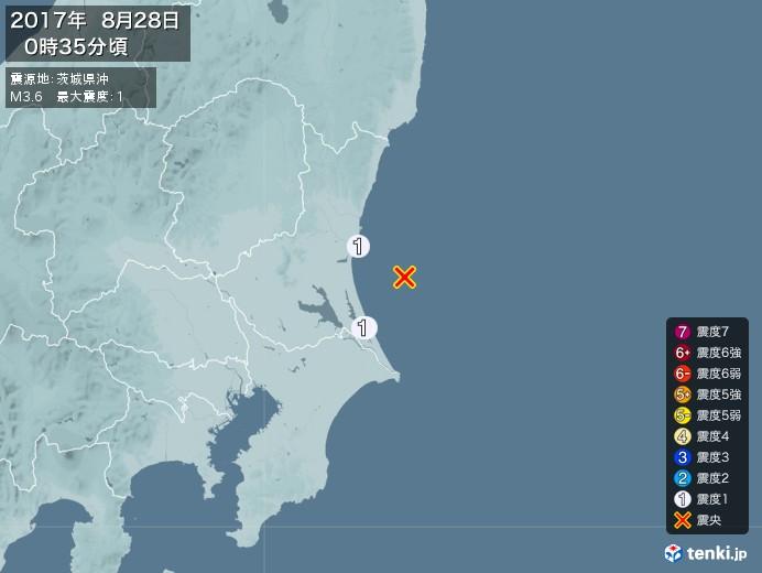 地震情報(2017年08月28日00時35分発生)