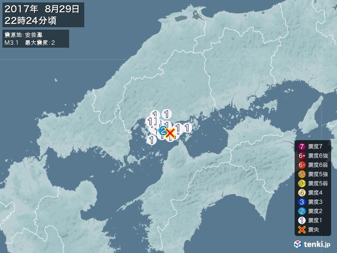地震情報(2017年08月29日22時24分発生)