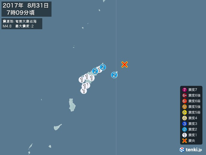 地震情報(2017年08月31日07時09分発生)